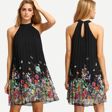 Chiffon Dresses Sleeveless Black Dress Butterflies Floral Summer 2019 Fashion Clothes Woman Pleated