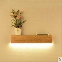 Простой деревянной бра для спальни светодиодные ночники творческий современные зеркала фары кабинет, ванная комната деревянная стена свет