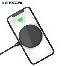 KEYSION Mini Qi Wireless Charger for iPhone XS Max XR 8 Plus PU Leather Charging Pad Samsung Galaxy Note S9+ S8