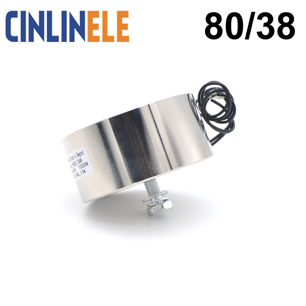 CL-P 80/38 100KG/220lbs/1000N Holding Electric Magnet Lifting Solenoid Sucker Electromagnet DC 6V 12V 24V Non-standard custom p80 38 holding electric magnet lifting 100kg solenoid electromagnet dc 6v 12v 24v 14w