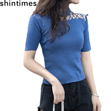 shintimes Summer Korean knitting Women Clothes 2019 Off The Shoulder Tops For Women O-Neck Slim Sexy Short Sleeve T shirt Women цены