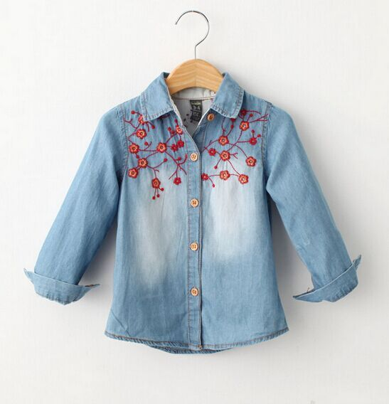 Moda Jean blusa camisa vaquera para las niñas princesa