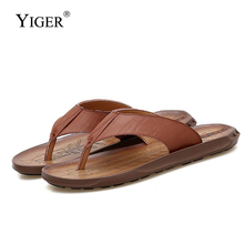 YIGER New Men Flip Flops beach Slippers non-slip genuine leather man casual comfortable slippers male summer cool flip flops 285