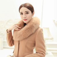 Plus Size 4XL 2018 Women Winter Long Coats Full Sleeves Fur Collar Jackets Manteau Femme Black Camel Warm Wool Coat Female
