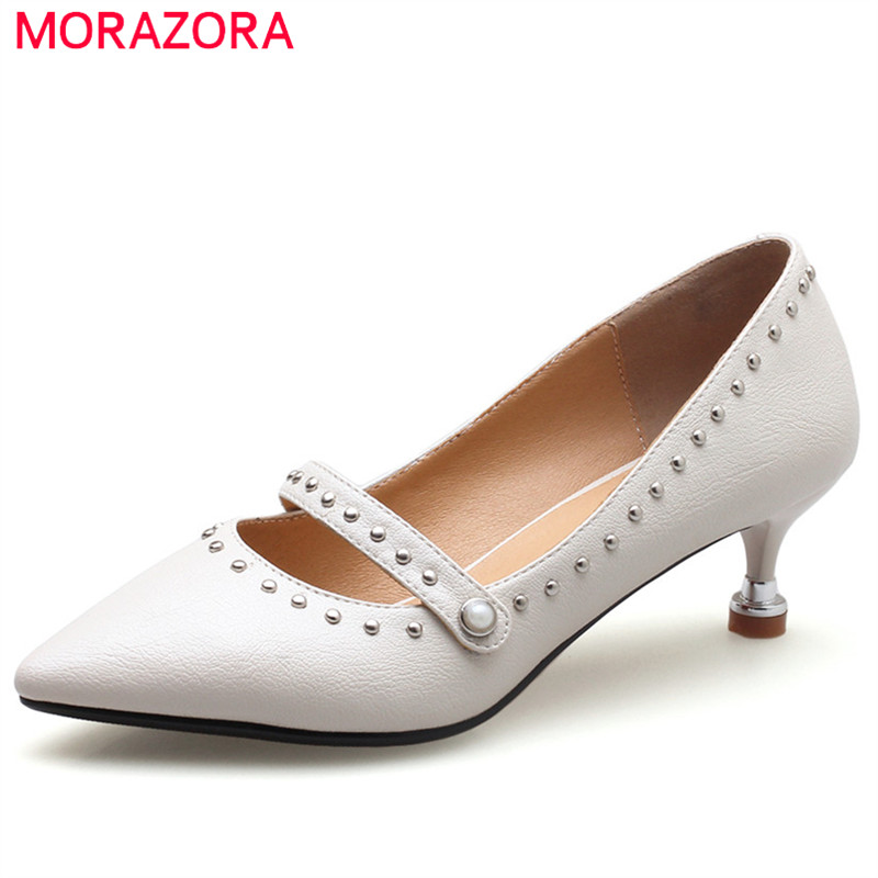 MORAZORA 2018 hot sale pointed toe slip on party wedding shoes fashion rivet pumps women shoes sexy thin high heels shoes woman hot sale leopard high heels 12cm woman dress shoes thin heel female outfit pumps slip on pointed toe party shoes stiletto heels
