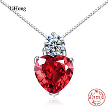 цена 100%925 Sterling Silver Necklace Heart Ruby Pendant Necklace Woman Premium Jewelry Gift онлайн в 2017 году