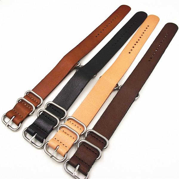 Prix pour 10 pcs/lote haute qualité 18 MM 20 MM 22 MM 24 MM bracelet NATO véritable vache en cuir bande de montre otan sangles zulu bracelet sangle