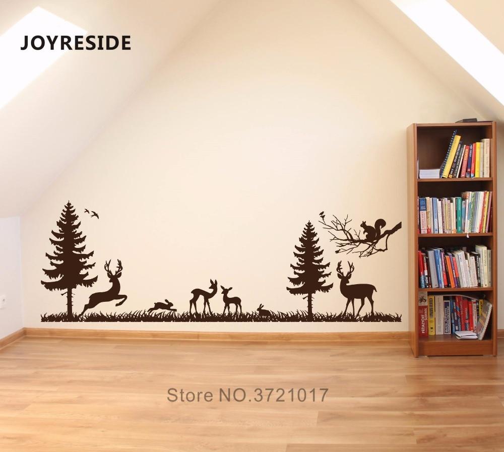 JOYRESIDE Wall Decal Vinyl Sticker Woodland Forest Animal Bambi Antelope Rabbit Boys Kids Bedroom Decoration Mural Design XY026