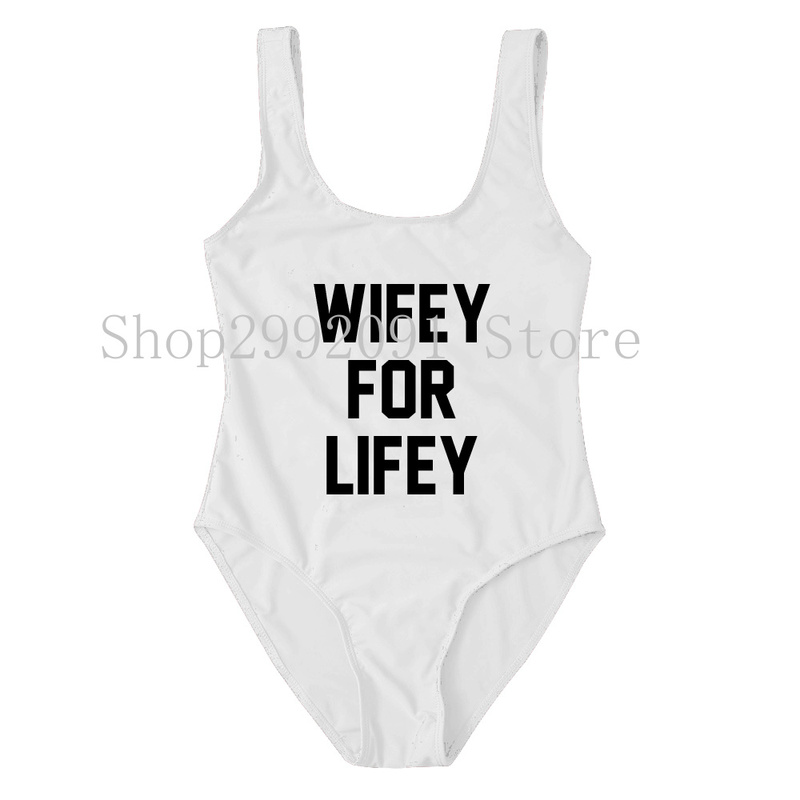 5738eefd9b548 WIFEY FOR LIFEY High Cut Swimsuits Honeymoon Outfit Bride Wife Gift  Personalised One Piece Bathing Suit