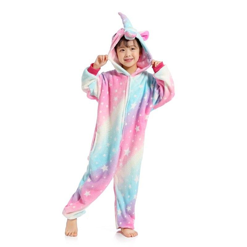 Kigurumi pijamas para crianças meninas unicórnio anime