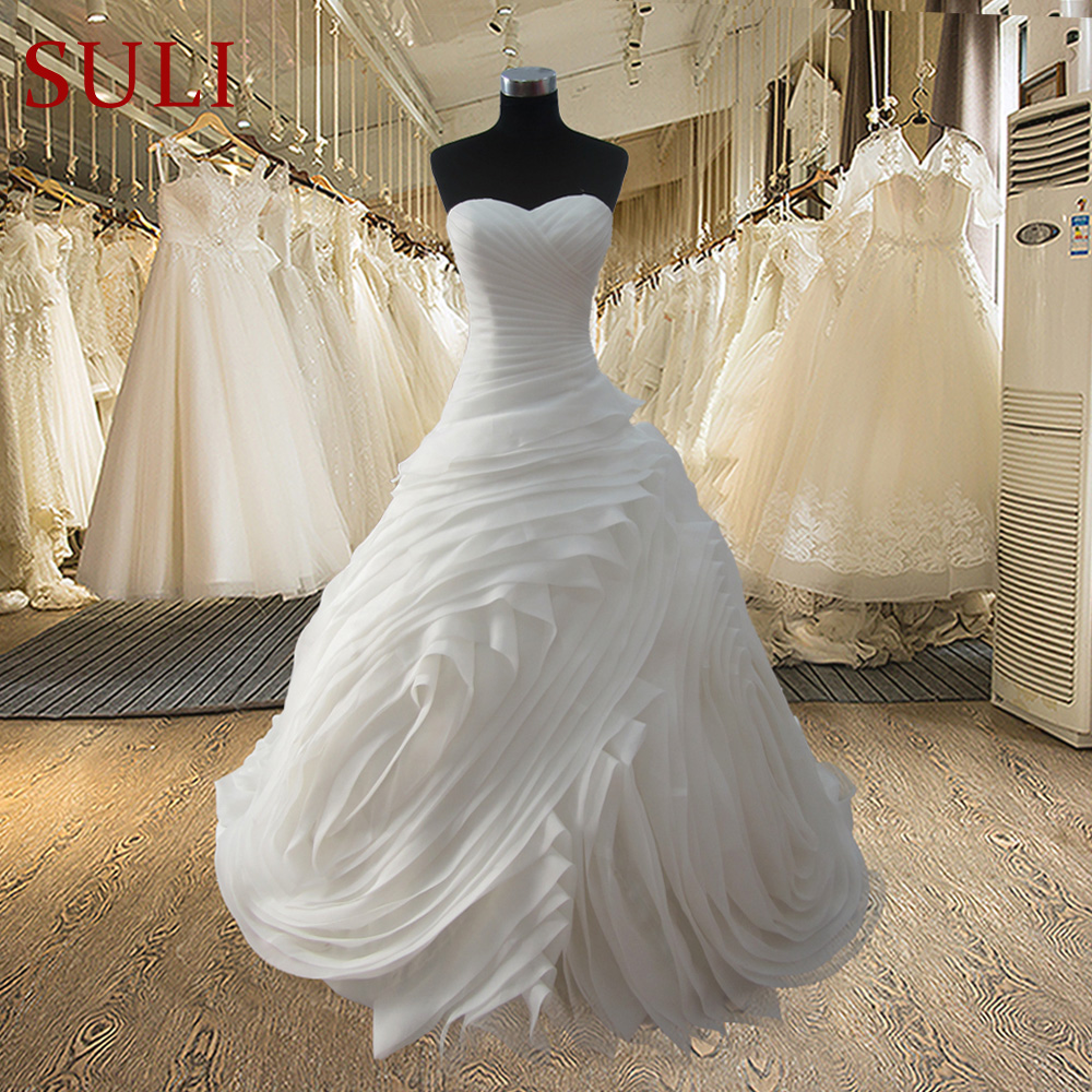 SL-3508 Real Photos Princess Wedding Dress Tube Cascading Ruffle Bride Robe De Mariage Vestidos De Noivas Vintage