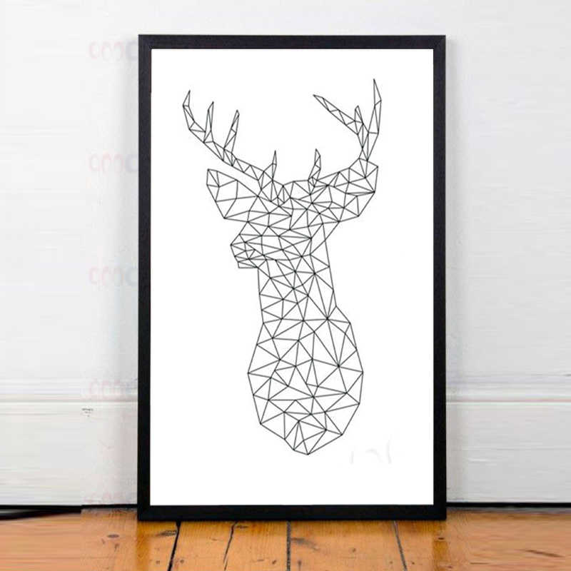 Modern Geometric Deer Head Canvas Art Print Poster Creative Design Canvas Print Painting Art Pictures Print Frame Not Include