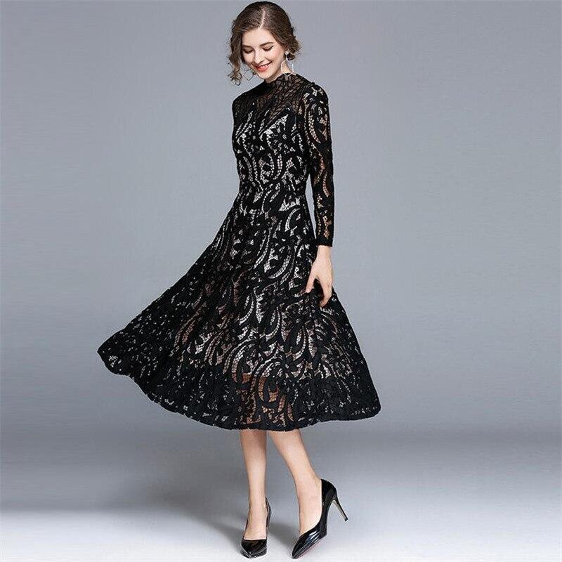 Automne Grande Printemps De Noir Élégant Mode Taille Sexy 2018 Robe Floral Soirée Creusent Dehors Tunique Minceur Robes Casual 3xl gI6ybYf7v