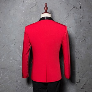 Image 2 - PYJTRL Mens Red Shawl Collar Single Button Suits Jacket Wedding Party Business Casual Blazer Coat Masculino Slim Fit Men