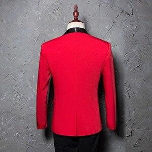 Image 2 - PYJTRL mantón rojo para hombre traje con un solo botón, chaqueta, chaqueta informal de negocios, corte ajustado