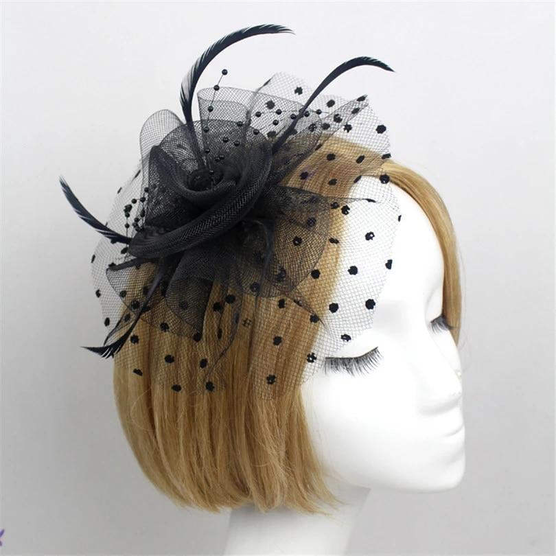 Women Mini Top Hat Fascinator Clip Lace Flower Feather Headband Hair Accessories