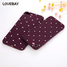 Lovebay Wave Point Phone Case For iPhone 7 7 Plus 6 6s Plus 5 5s SE Cute Wine Red Soft TPU Shockproof Phone Case Back Cover Bags