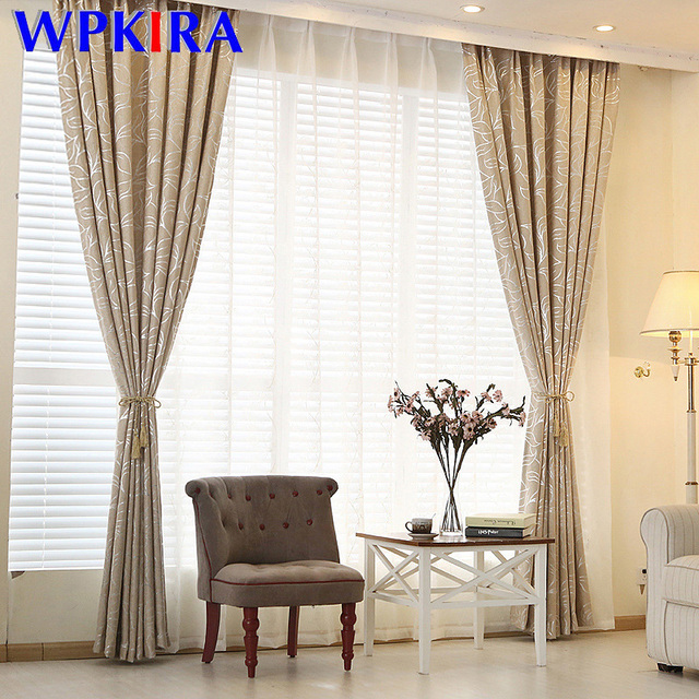 silver leaves pattern chenille jacquard blinds custom bedroom