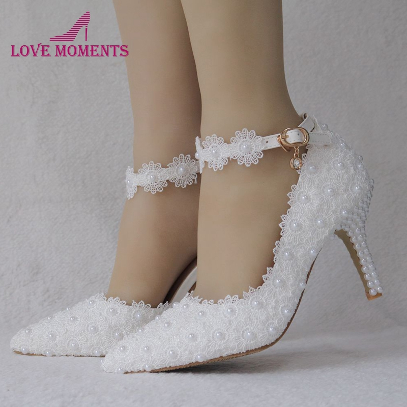 White Lace Flower Women High Heels Shallow Wedding Dress Shoes 8cm Ankle Straps Bridesmaid Shoes Daughter