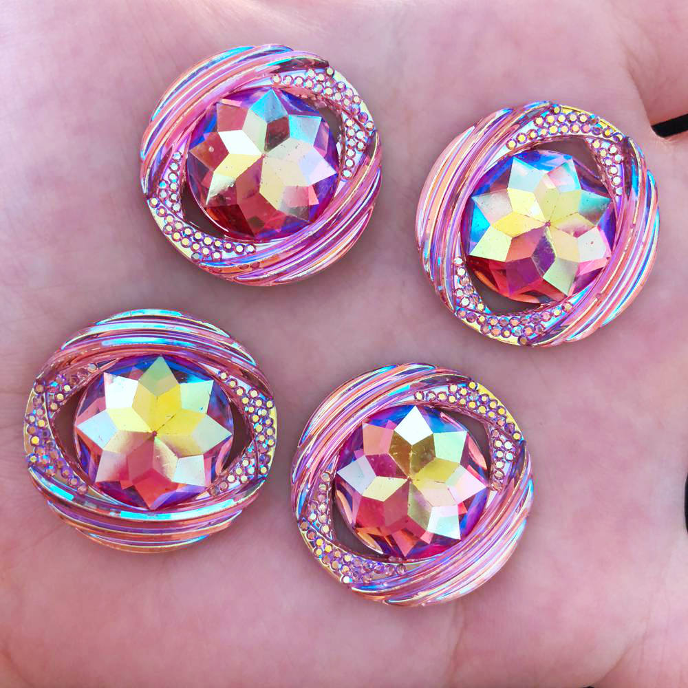 Hot DIY 6PCS 25mm AB Resin flower Flatback Rhinestone Wedding 2 hole buttons