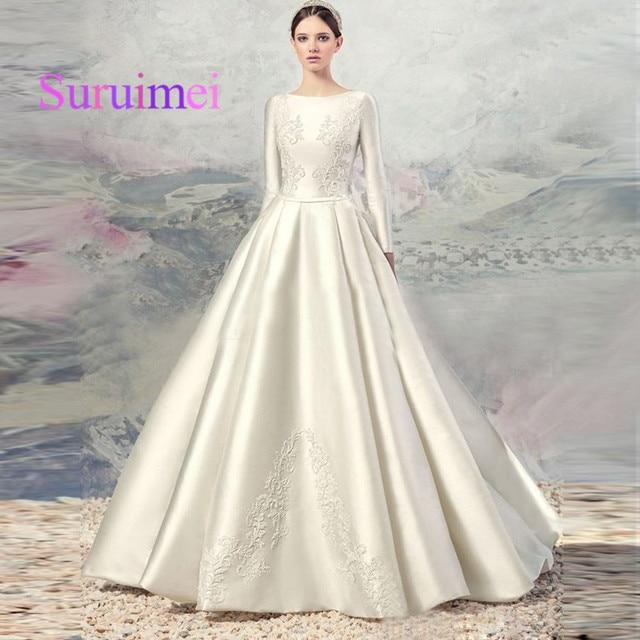 New High quality Gorgeous Ivory Silk Satin Full Sleeve Holy Wedding ...