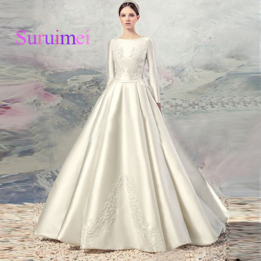2019 Wedding Dresses With Sleeves: New High Quality Gorgeous Ivory Silk Satin Full Sleeve