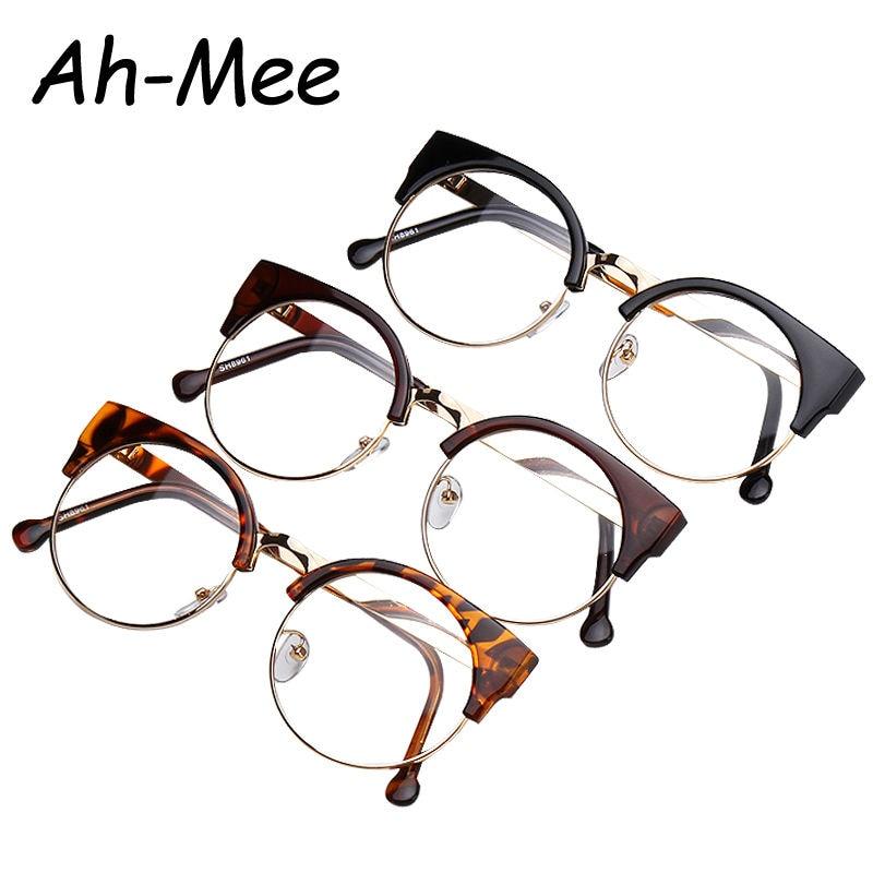 Óculos de Nerd rodada armações de óculos de olho de gato lente clara Unisex  meia grife pontos F15010 computador de grau feminino 5c477c6b9d