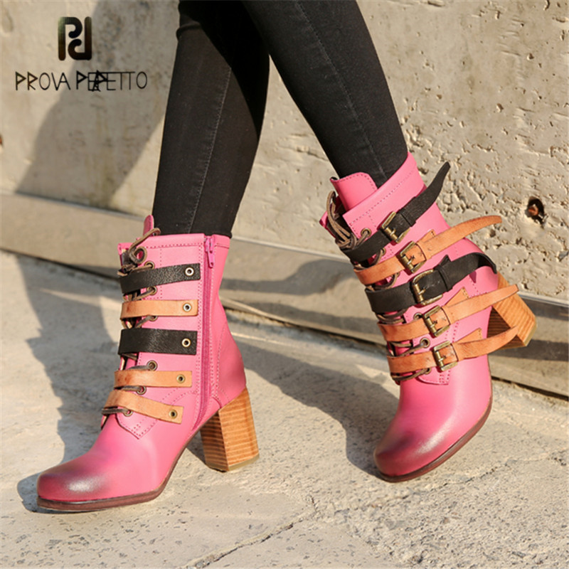 Prova Perfetto Fashion Pink Women Genuine Leather Ankle Boots Autumn Winter High Heel Botas Mujer Platform Rubber Shoes Woman 145 keys dsa pbt dye sublimated perfect arc spherical keycap cherry mx switch keycaps for wired usb mechanical gaming keyboard