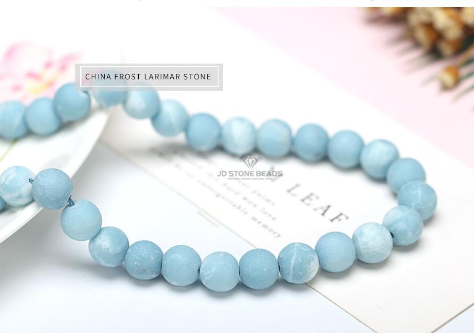 HTB19CAcgAvoK1RjSZFwq6AiCFXaN 6 8 10 12MM Larimar gemstone Round Loose beads Matte Ocean Sea stone bracelet necklace for jewelry Making