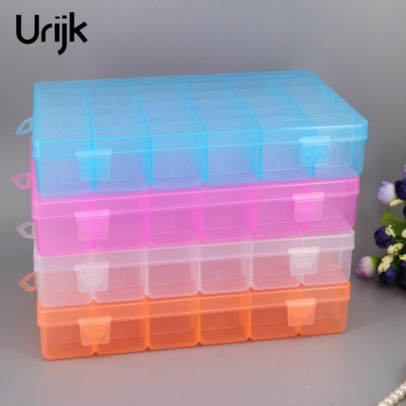 Urijk 36 Grid Detachable Gear Storage Box Electronic Auto Parts Box Transparent Plastic Jewelry Box Tool Parts Storage Box