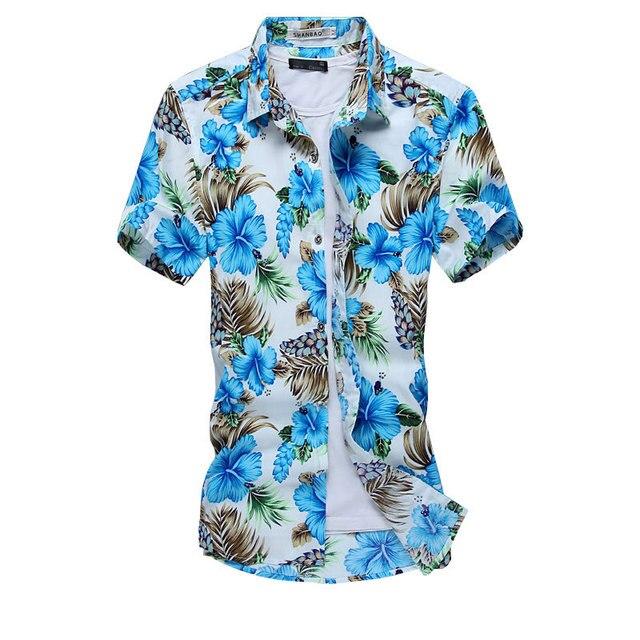 41eee6b5ed Azul rojo de dos colores nuevo diseño camisa hawaiana la comodidad del  algodón camisa de estampado