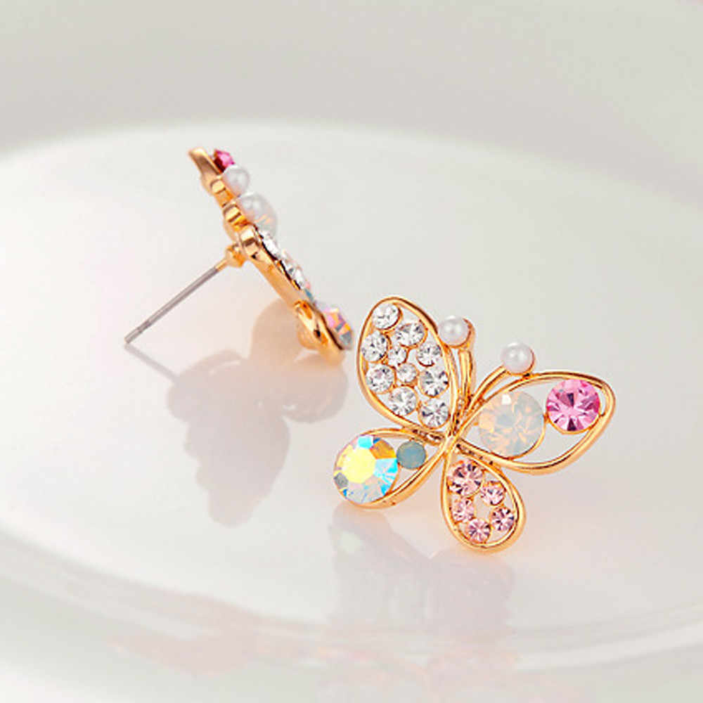 Hollow Luxury Bright Colorful Cystal Simulated Pearl Butterfly Earrings 10.4