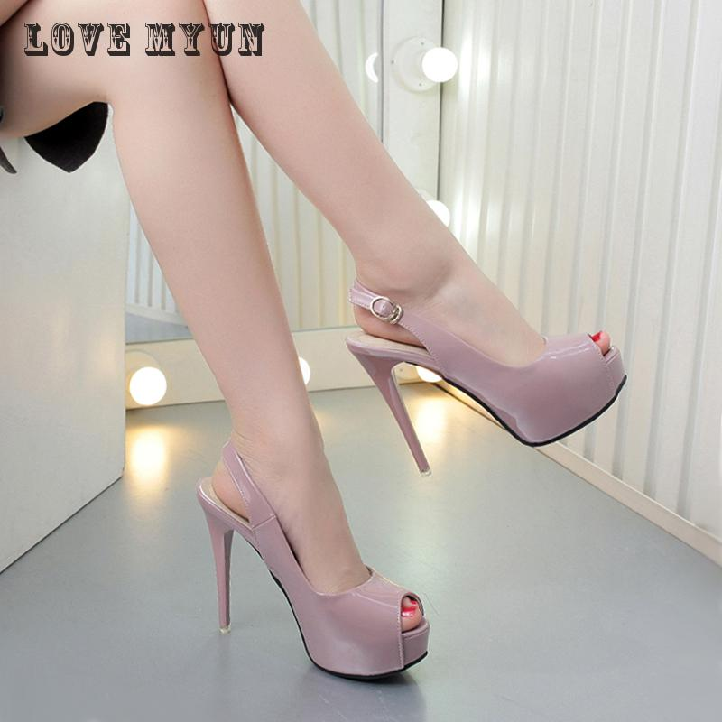 2017 super high heels with a fine 12CM female summer new sexy and elegant leather toe fish mouth shoes air waterproof sandals