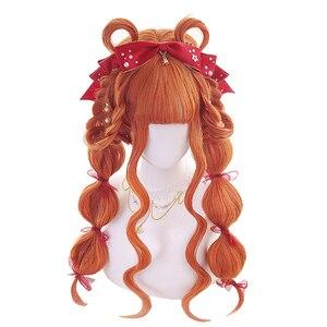 Image 2 - L email peruk uzun turuncu Lolita peruk kadın saç dalgalı Cosplay peruk cadılar bayramı Harajuku peruk isıya dayanıklı sentetik saç