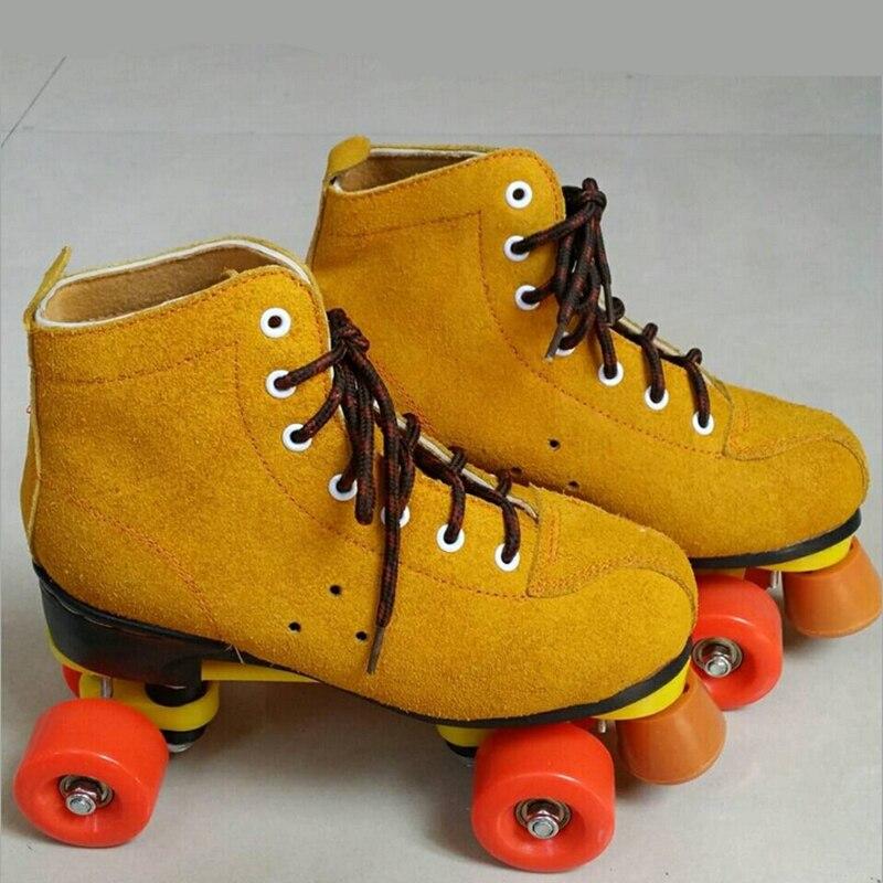 Prix pour Adulte De Patins À Roulettes Chaussures pour Débutant Avancé Patineuse Durable PU Roue De Frein Bloc Jaune Respirant En Cuir Boot Lace-up patins