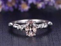 MYRAY Natural Oval 5x7mm Pink Morganite Gemstone 14k White Gold Engagement Ring Diamond Wedding Anniversary Women
