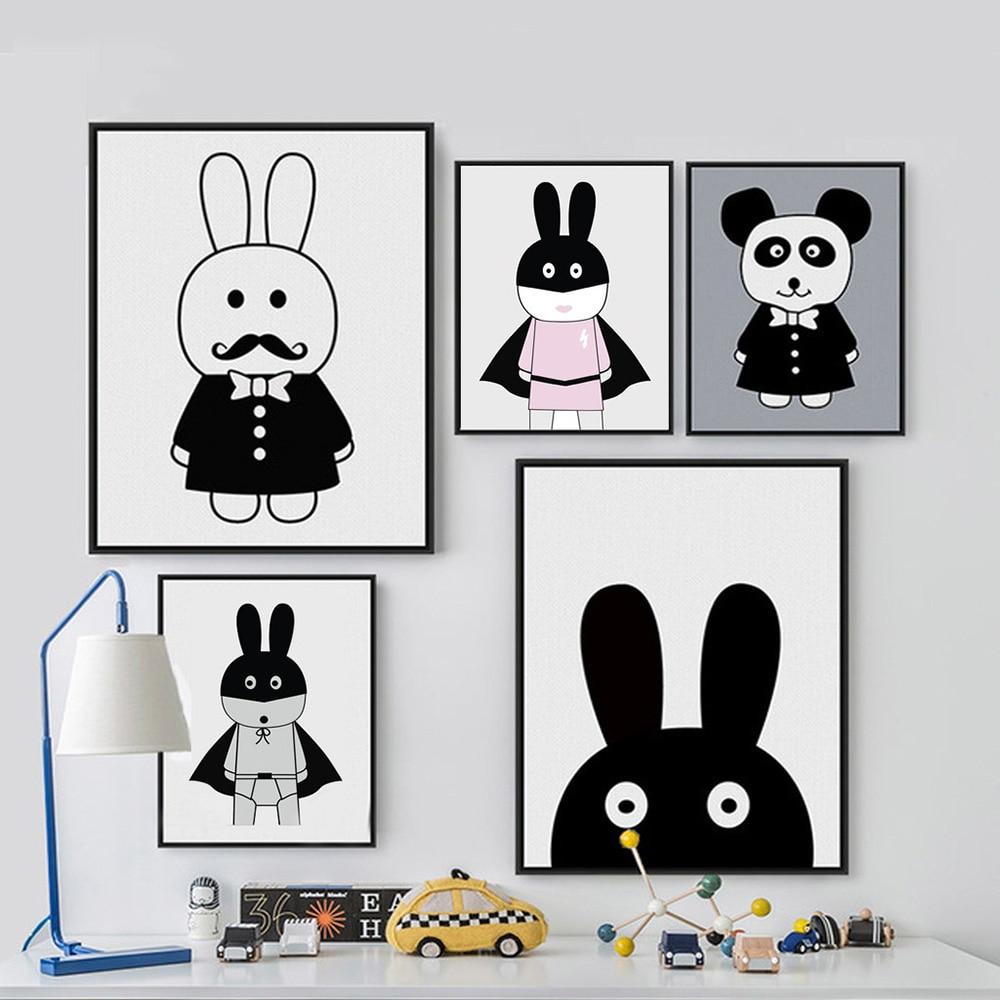Sevimli cizgi filmi Dovşan Panda Minimalist İncəsənət Kətan - Ev dekoru - Fotoqrafiya 1