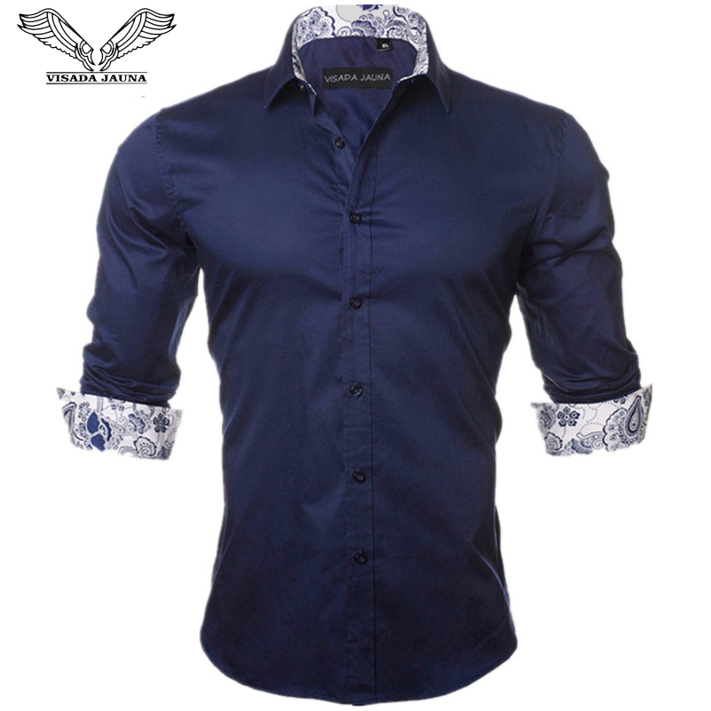 VISADA JAUNA पुरुषों की शर्ट 2017 नई आगमन फैशन आकस्मिक शैली लंबी आस्तीन ठोस 100% कपास स्लिम फिट पोशाक पुरुष शर्ट