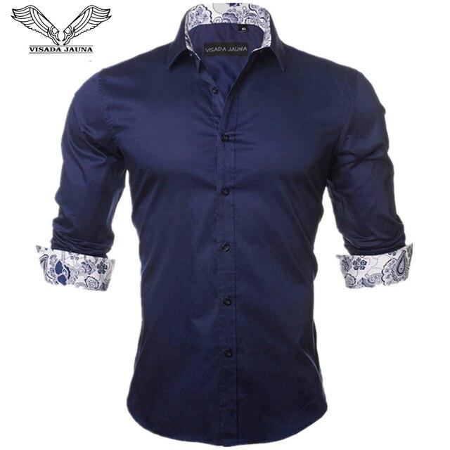 5ba0f2d2ecd VISADA JAUNA Men s Shirt 2017 New Arrivals Fashion Casual Style Long Sleeve  Solid 100% Cotton Slim Fit Dress Male Shirts N795