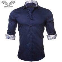 VISADA JAUNA Mens Shirt 2019 Fashion Casual Long Sleeve Solid 100% Cotton Slim Fit Dress Business Shirts Men Brand Clothing 5XL