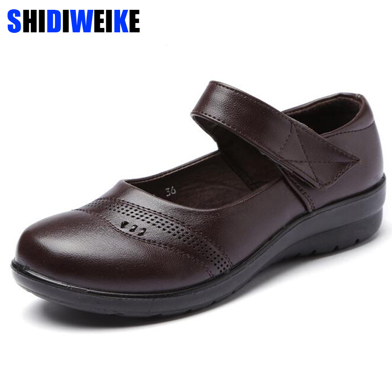 Women Mary Janes Flats Shoes Leather Round Toe Non-slip Rubber Ballet Flats Career Nurse Black Flat Shoes Summer N017 подвесной светильник st luce sl299 053 01 page 5