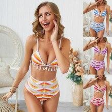 Womens sexy bikini new tasseled net yarn bathing  swimwear split high waist and back Beach Bikini Bathing Suit swimsuit