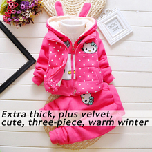 Supper Thick Velvet 3pcs Baby Girl Winter Clothes For Kids Toddler Outfits Clothing Set