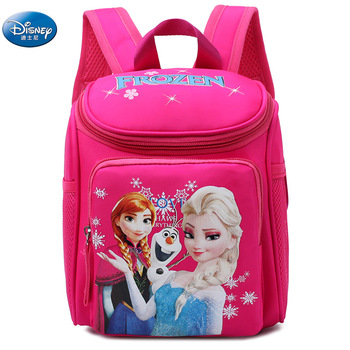 girls frozen elsa annaSnow Queen princess Plush Backpacks kids disney  School Bag Breathable backpack 1