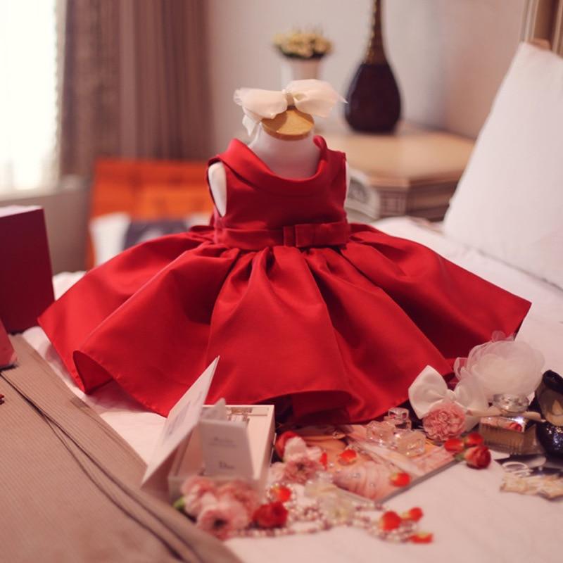 Nouvelle robe de bal de fête d'anniversaire pour enfants robe de demoiselle d'honneur de mariage fille de fleur rouge Peng nœud papillon robe de fête vestidos de fiesta