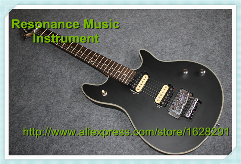 Custom Shop Black Electric Guitar Silver Floyd Rose Tremolo Wolfgang EVH Guitars China Kits & Body Available custom shop china lp electric guitar in desert burst color quilted top guitar body lefty custom available