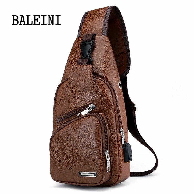 BALEINI 2018 Fashion Messenger New Shoulder Bag Men's Charging Bag Men's USB Breast Bag High quality leather 1