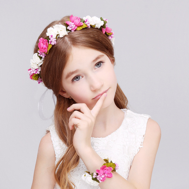 Cute Girls Hair Accessories Flower Girl Floral Crown Bohemia Halo Flower  Crown Artifical Children Hair Accessories 9a87d3177c9