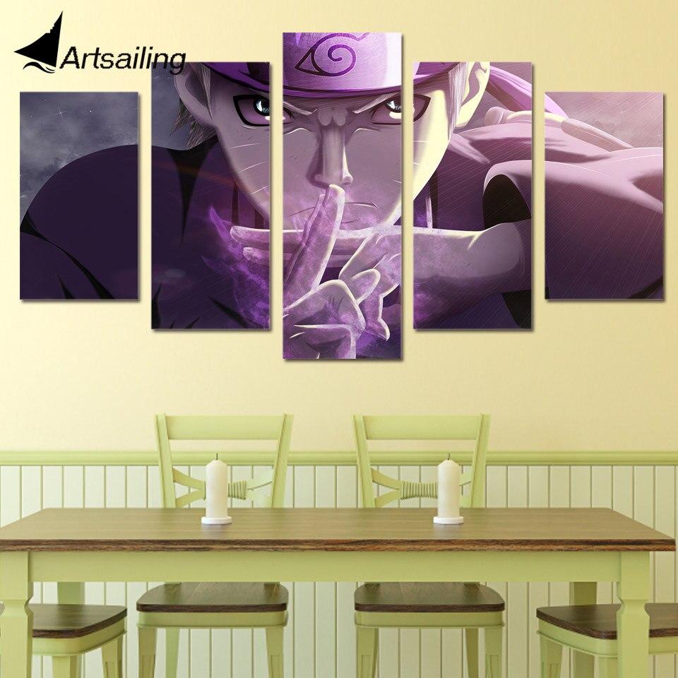 5 Piece Canvas Art Naruto Ninjutsu Printed Wall Art Home Decor ...
