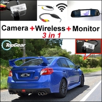 3 in1 Special Camera + Wireless Receiver + Mirror Monitor Easy DIY Back Up Parking System For Subaru WRX STi (Wagon)